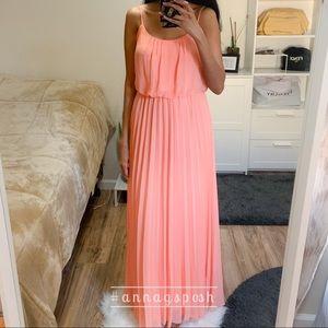 B Smart Peach Pleated Maxi Dress